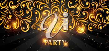Celebration party banner with golden ornament. Greeting, invitation card or flyer.