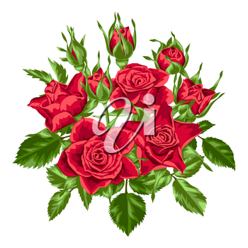 Decorative element with red roses. Beautiful realistic flowers, buds and leaves.