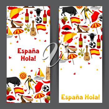 Spain banners design. Spanish traditional symbols and objects.