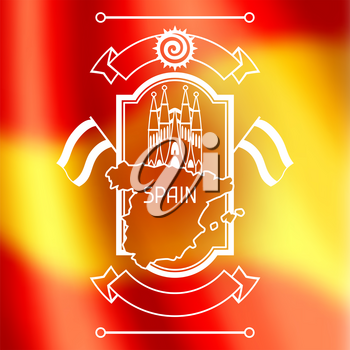 Spain background design on blurred flag. Spanish traditional symbols and objects.