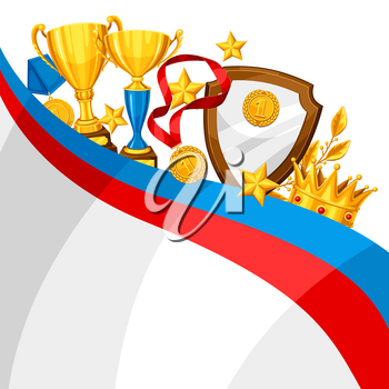 Realistic gold cup and other awards. Background with place for text for sports or corporate competitions.