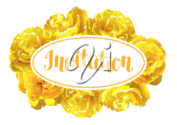 Invitation card fluffy yellow tulips. Beautiful realistic flowers and buds.