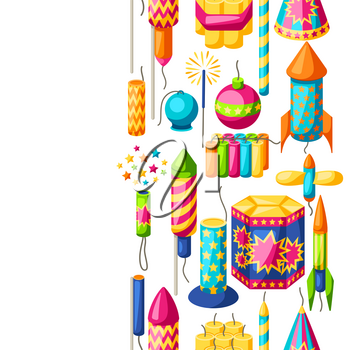 Seamless pattern with colorful fireworks. Different types of pyrotechnics, salutes and firecrackers.