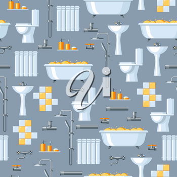 Bathroom interior. Plumbing seamless pattern. Background for sanitary engineering shop. Sale, service and installation.