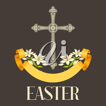 Silhouette of ornate cross with lilies. Happy Easter concept illustration or greeting card. Religious symbols of faith.