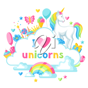 Print or card with unicorn and fantasy items.