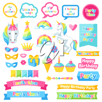 Happy birthday scrapbook patch. Fantasy items and objects for decorations.