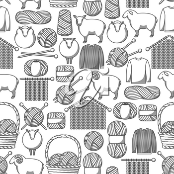 Seamless pattern with wool items. Goods for hand made, knitting or tailor shop.