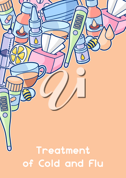 Background with medicines and medical objects. Treatment of cold and flu.