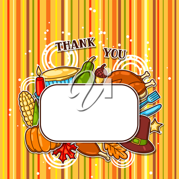 Happy Thanksgiving Day frame with holiday objects.