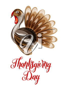Happy Thanksgiving Day greeting card with abstract turkey.