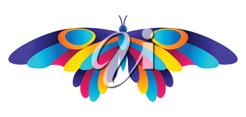 Colorful butterfly. Bright abstract insect on white background.