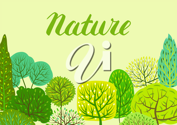 Spring or summer background with stylized trees. Natural illustration.