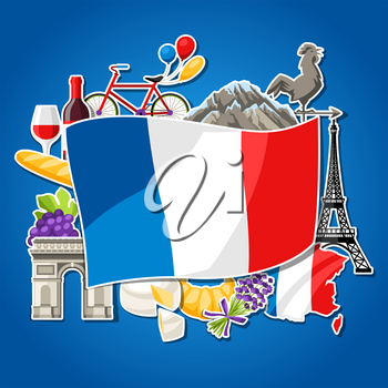 France background design. French traditional sticker symbols and objects.