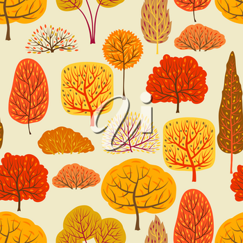 Seamless pattern with autumn stylized trees.