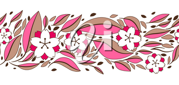 Seamless pattern with sakura or cherry blossom. Floral japanese ornament of blooming flowers and leaves.