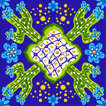 Mexican talavera ceramic tile pattern. Cute naive cactus and flowers. Ethnic folk ornament.