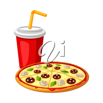 Illustration with fast food meal. Soda and pizza. Tasty fastfood lunch products.