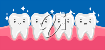 Illustration of smiling clean healthy teeth in oral cavity. Children dentistry happy characters. Kawaii facial expressions.