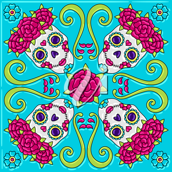 Day of the Dead mexican talavera ceramic tile pattern. Traditional decorative objects. Ethnic folk ornament.