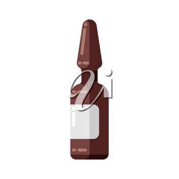 Injection ampoule icon in flat style. Medical illustration isolated on white background.