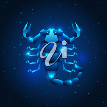 Scorpio zodiac sign, blue star horoscope symbol. Stylized astrological illustration.
