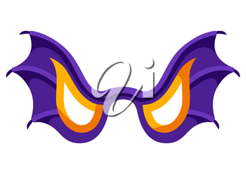 Happy halloween illustration of angry bat wing mask. Cartoon holiday icon.