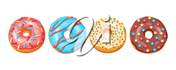 Set of glaze donuts and sprinkles. Illustration of various colored sweet pastries.