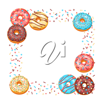 Frame with glaze donuts and sprinkles. Background of various colored sweet pastries.