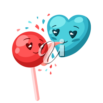Cute heart licks candy. Valentine Day greeting card. Illustration of kawaii characters with eyes hearts.
