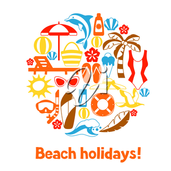 Print with summer and beach objects. Illustration of stylized items.