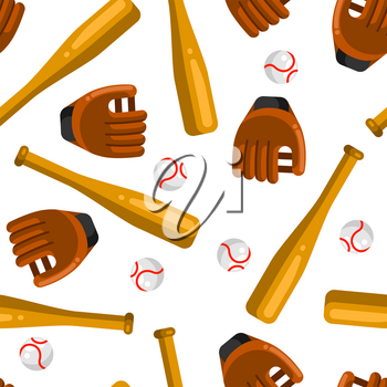 Seamless pattern with baseball gloves, balls and bats in flat style. Stylized sport equipment background.