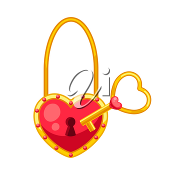 Valentines Day heart shaped lock with key. Illustrations in cartoon style.