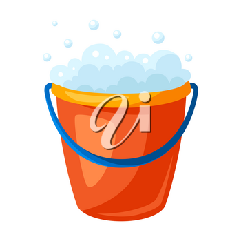Illustration of soap bucket. Housekeeping cleaning item for service, design and advertising.