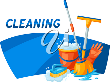 Housekeeping background with cleaning items. Illustration for service, design and advertising.