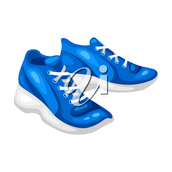 Illustration of blue sneakers. Fitness sport cartoon icon.
