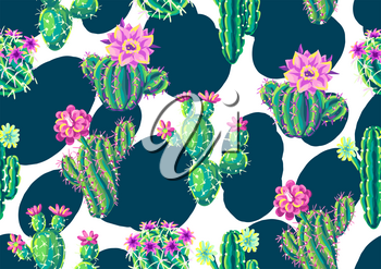 Seamless pattern with cacti and flowers. Decorative spiky flowering cactuses in hand drawn style.