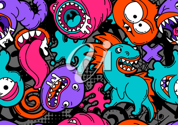 Seamless pattern with cartoon monsters. Urban colorful teenage creative background. Evil creatures in modern comic style.