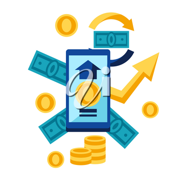 Illustration of phone and money. Banking concept with finance items.