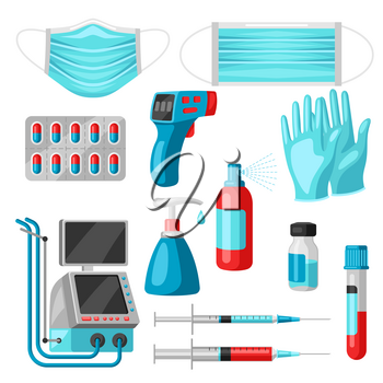 Set of medical equipment and protection. Health care, treatment and safety items.