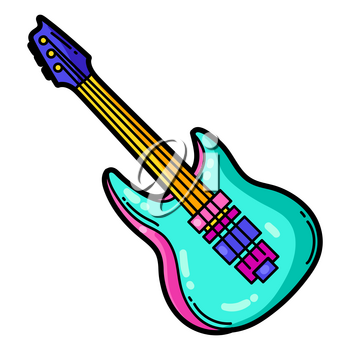Illustration of cartoon musical electric guitar. Music party colorful teenage creative image. Fashion symbol in modern comic style.