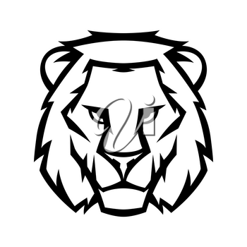 Mascot stylized lion head. Illustration or icon of wild animal.