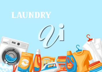 Laundry service background with professional items. Washing and cleaning illustration.