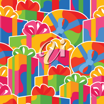 Seamless pattern with gift boxes. Colorful presents for celebration, discounts or promotions.