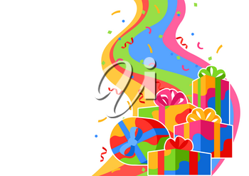 Background with gift boxes. Colorful presents for celebration, discounts or promotions.