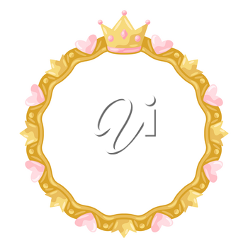 Princess frame with hearts and crowns. Stylized decoration children photography.