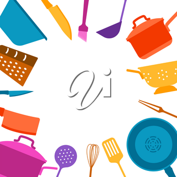 Background with kitchen utensils. Cooking tools for home and restaurant.