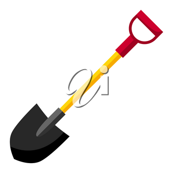 Illustration of fire shovel. Firefighting item. Adversting icon or image for industry and business.