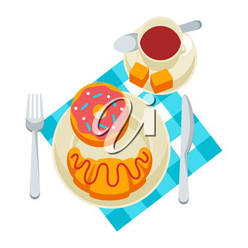 Breakfast illustration. Tasty pastry on plate and cofee. Concept for cafes, restaurants and hotels.