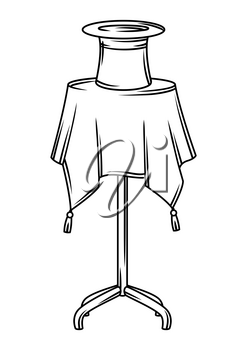Magician table with cylinder. Trick or magic illustration. Black and white stylized picture.